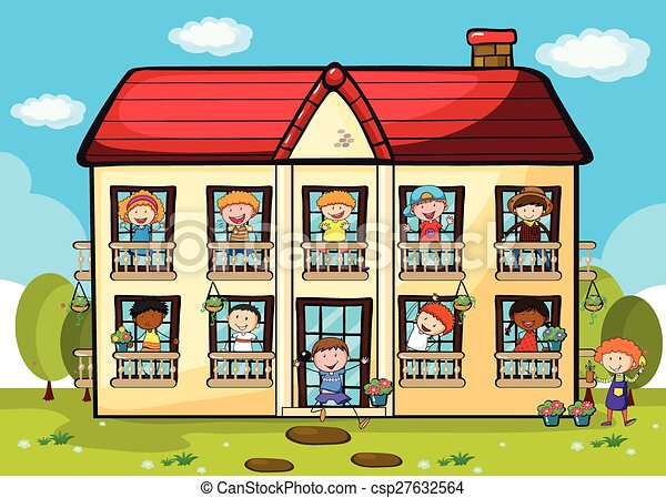 Clip Art Vector Of Apartment Many People Living In Big