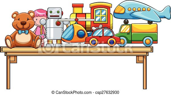 Vectors Of Toys And Table Different Kind On The