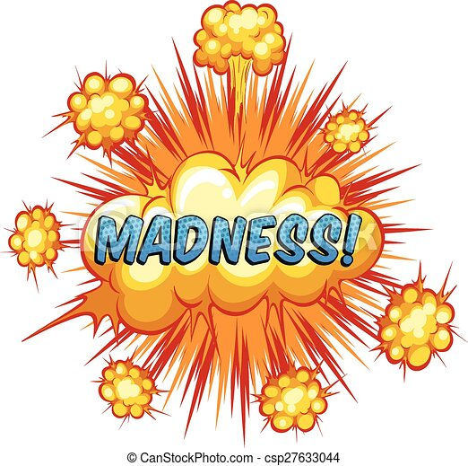eps vector of madness word madness with cloud explosion