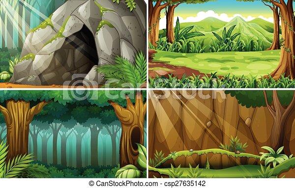 Eps vector of forest scene illustration of four scenes for Forest scene drawing