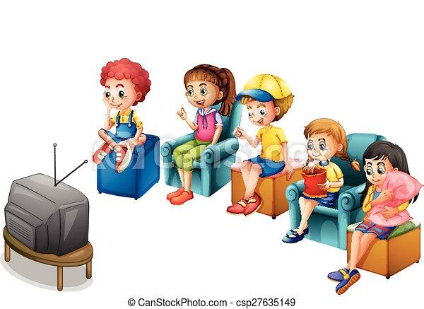 vecteur eps de t l regarde boys et filles t l vision regardant sur csp27635149. Black Bedroom Furniture Sets. Home Design Ideas