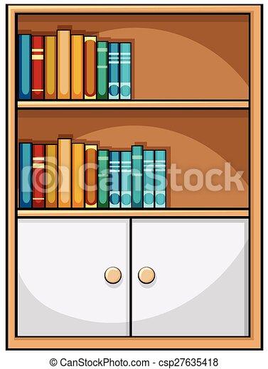 Bücherregal clipart  Vektor Clipart von bücherregal - Close, auf, bücherregal, voll ...