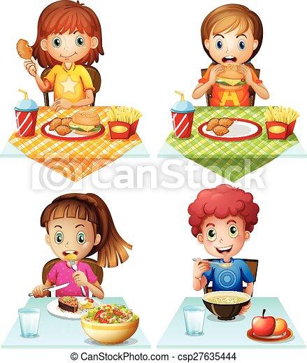 Vecteur Eps De Manger Nourriture Enfants Manger