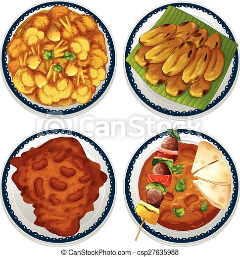 Vector of indian food four dishes of indian food for Art of indian cuisine