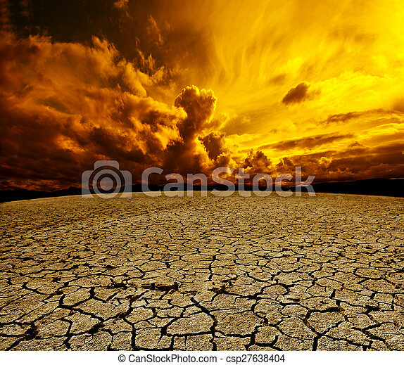 Desert and cloudy sky scenery. Dry soil and storm landscape