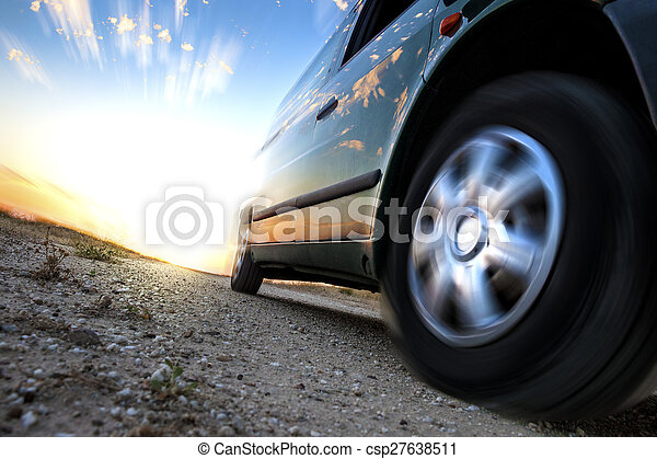 Car and speed. Sunset scenery and fast car outdoor