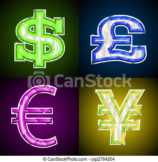 Jeweled money symbols - csp2764204