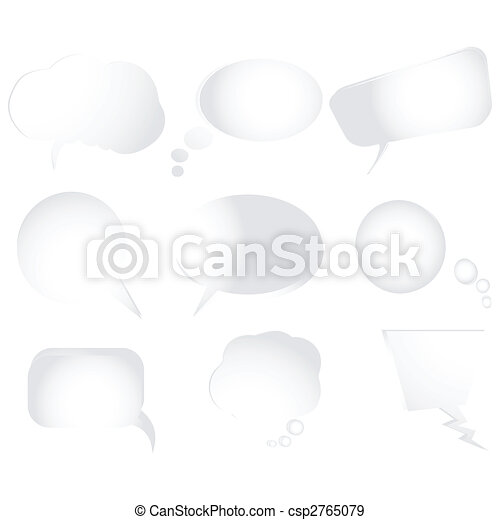 Collection of stylized text bubbles, isolated objects on white, more bubbles in my gallery - csp2765079