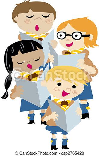 Vektor Clipart von Chor, Kinder, singen - knaben, und ... Cantando In English