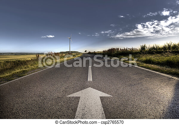 Country Asphalt road in strong flare - csp2765570