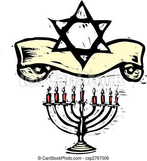Hanukkah Menorah and Star of David - csp2767006