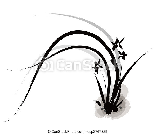 chinese painting of orchid - csp2767328