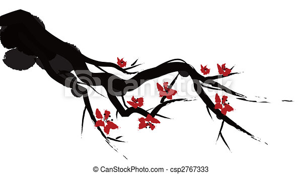 chinese painting of plum bloom - csp2767333
