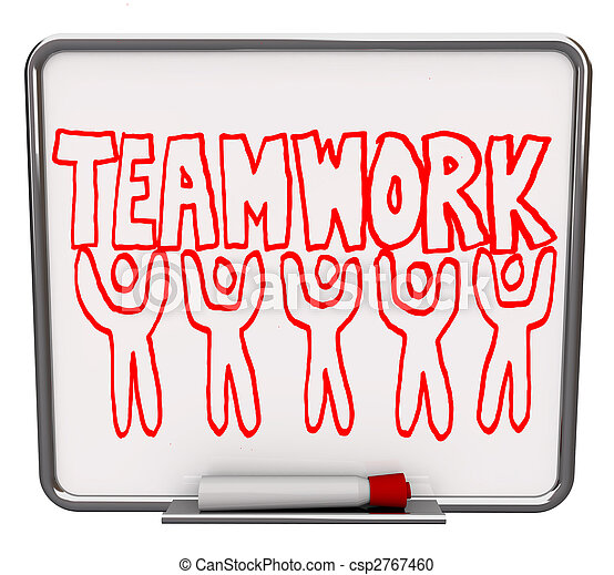 Teamwork on Dry Erase Board with Team Members - csp2767460