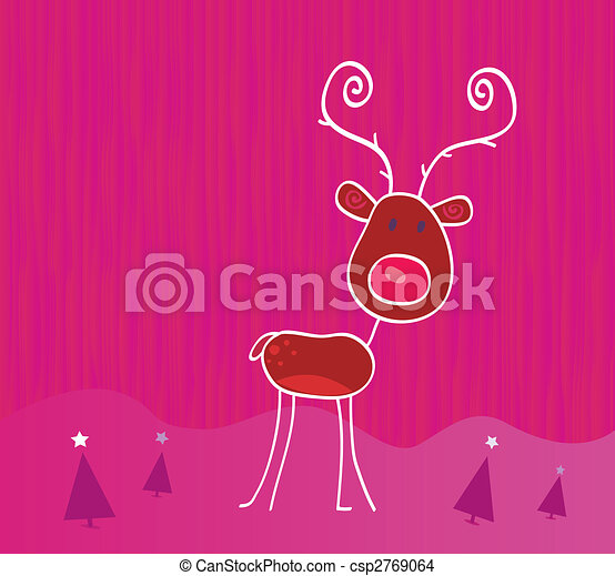 Doodle christmas reindeer Rudolph on snow - csp2769064