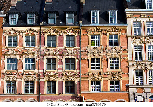 Historical houses at the Grand Place in Lille, France - csp2769179