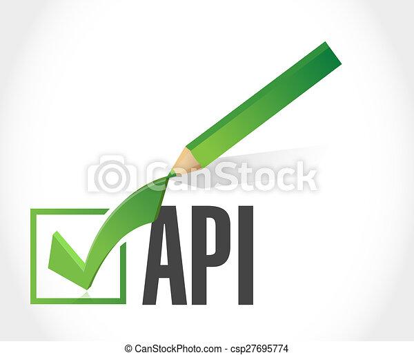 Api check mark sign concept illustration