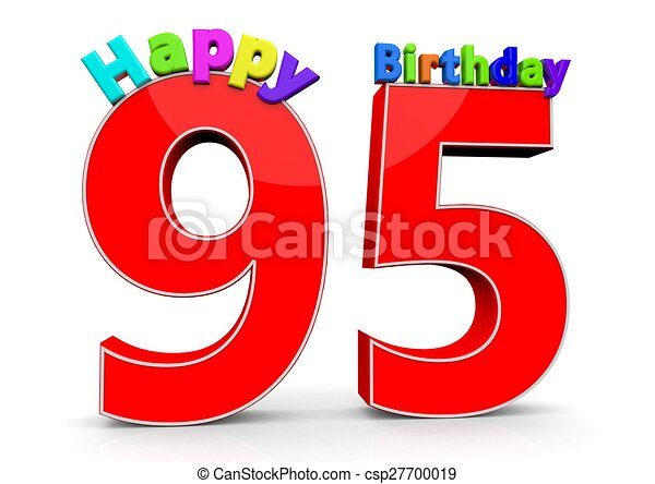 Clipart Of The Big Red Number 95 With Happy Birthday In