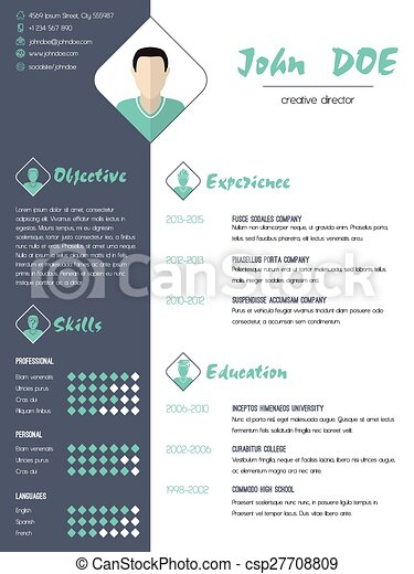 vector clipart of modern curriculum vitae resume with