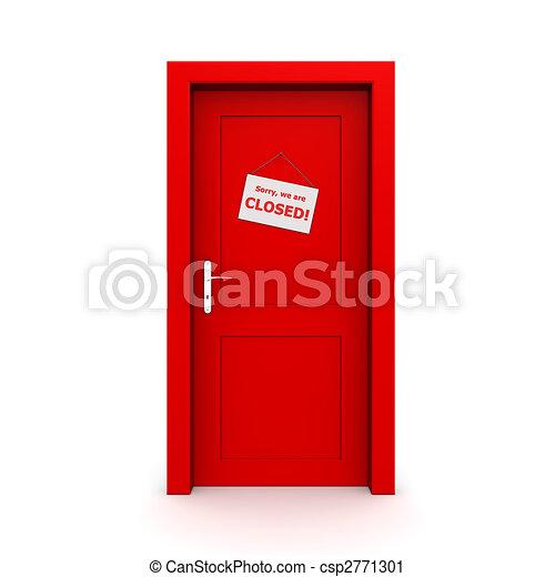 Closed Red Door With Door Sign - csp2771301