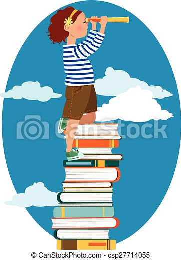 Clipart Vector of Young reader - Little girl in a sailor's shirt ...