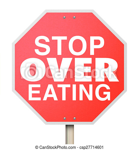 Stock Illustration of Stop Over Eating Red Warning Sign ...