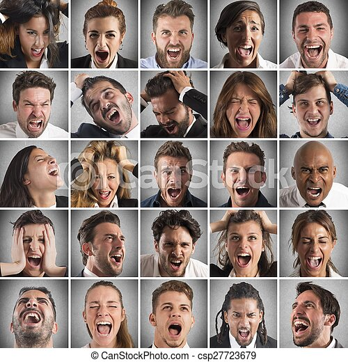 Portraits collage of people faces who scream