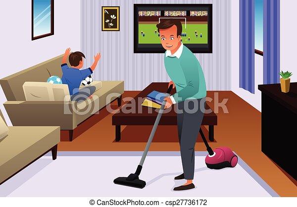 Ilustraciones vectoriales de casa padre el limpiar con - Limpiar alfombra en casa ...