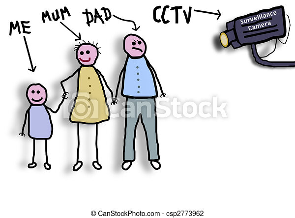 Clip Art of CCTV Family - Childlike illustration of a family being ...