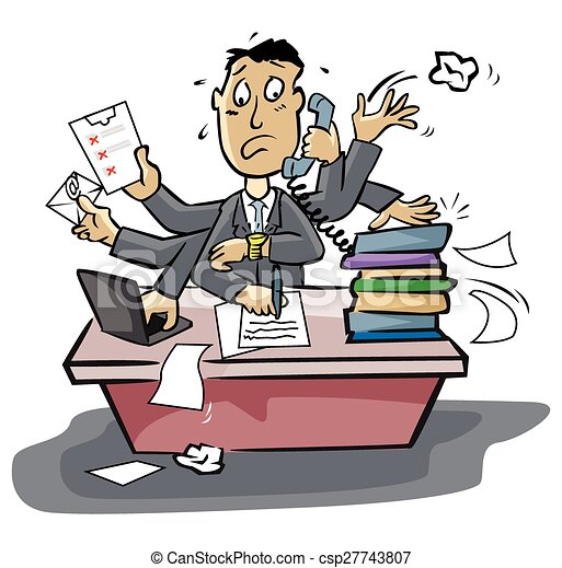 Vector Clipart Of Busy Businessman Csp27743807 Search