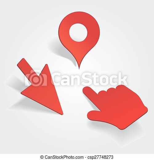 Set of different map pointers. Vector  - csp27748273