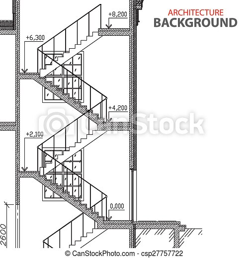 Ilustraciones de vectores de escaleras arquitectura for Planos de escaleras en u