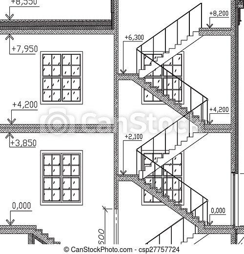 Ilustraciones de vectores de windows escaleras for Escaleras arquitectura