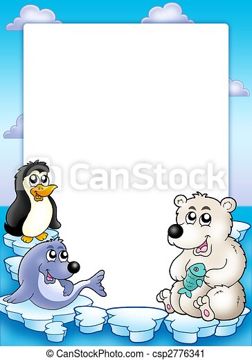 Frame with winter animals - csp2776341