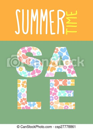 Clip Art Vector of Summer sale. Vector template for flyers. font ...