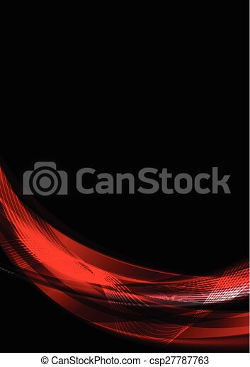 Abstract smooth waves on black background - csp27787763