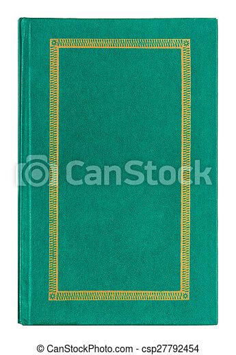 gammal, guld, läder, prydnad, isolerat, bok, grön fond, vit - csp27792454
