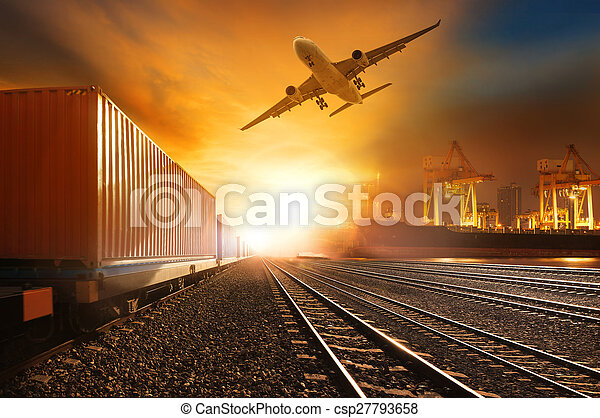industry container trainst running on railways track and commercial ship in port , plane air cargo flying above use for land , air , and vessel transport industry and logistic business