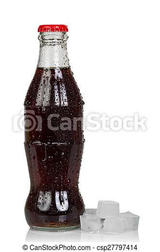Bottle of cola with ice cubes - csp27797414