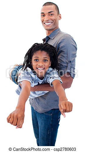 Afro-American father playing woth his son - csp2780603