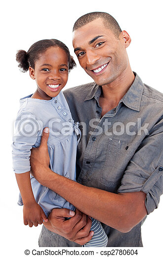 Happy Afro-American dad holding her little daughter - csp2780604