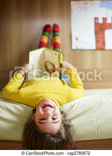 girl reading book  - csp2780672