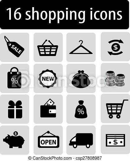 set of black shopping icons - csp27808987