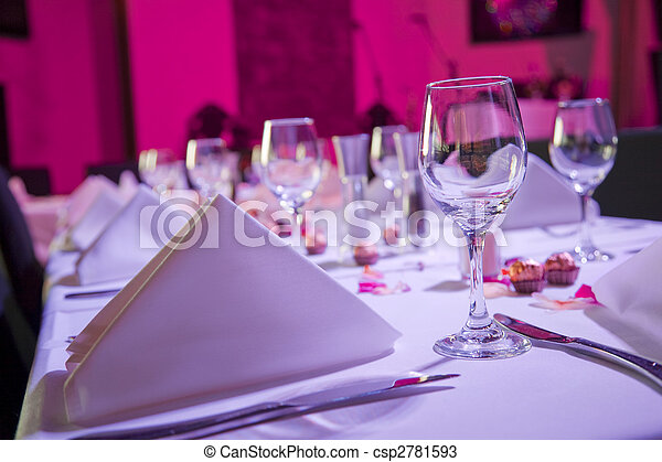 Table dressed up for wedding reception - csp2781593