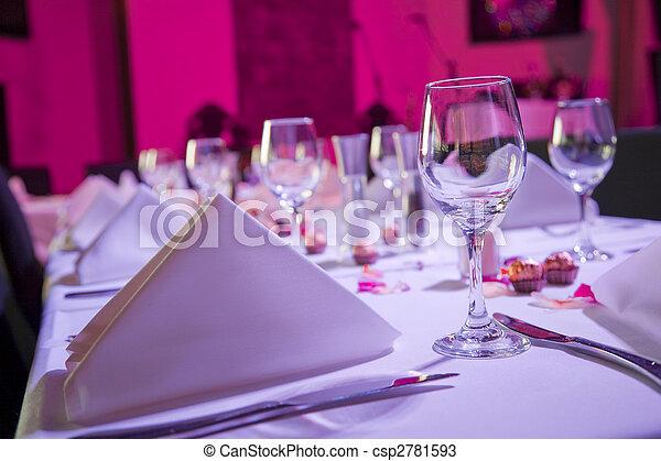 vestito, tavola, su, ricezione, matrimonio - csp2781593