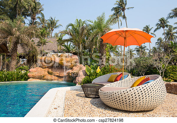 Stock photographs of swimming pool and beach chairs in a for Outdoor furniture samui