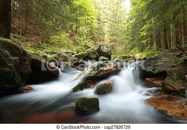 Waterfall flowing from a mountain