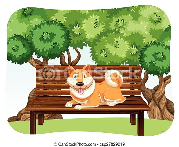 Clip Art of Dog on bench - Dog sitting on the wooden bench in the park ...