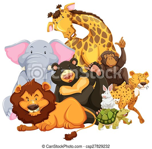 Vectors of Animals - Group of wild animals sitting ...