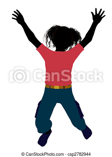 African American Girl Illustration Silhouette - csp2782944